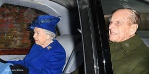 Queen Elizabeth II and Prince Philip in car going to church in Sandringham after Queen's cold 2017