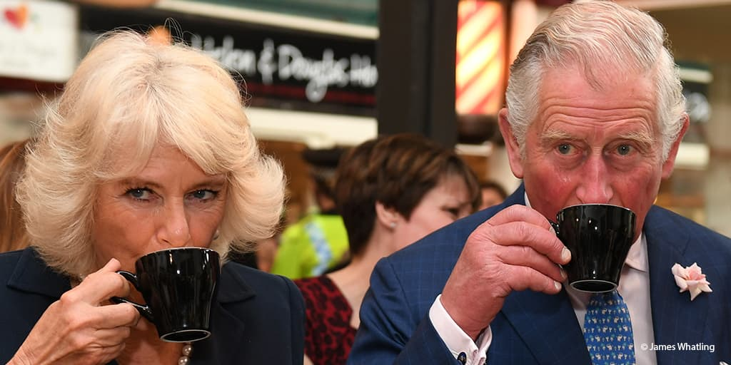 Prince Charles Camilla Duchess of Cornwall drinking tea Oxford 2017