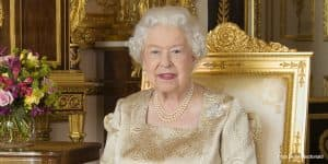 Queen Elizabeth II Queen of Canada wearing Canadian Maple Leaf brooch 2017