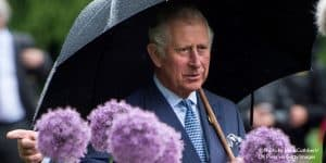 Prince Charles with flowers at Kew Gardens in London