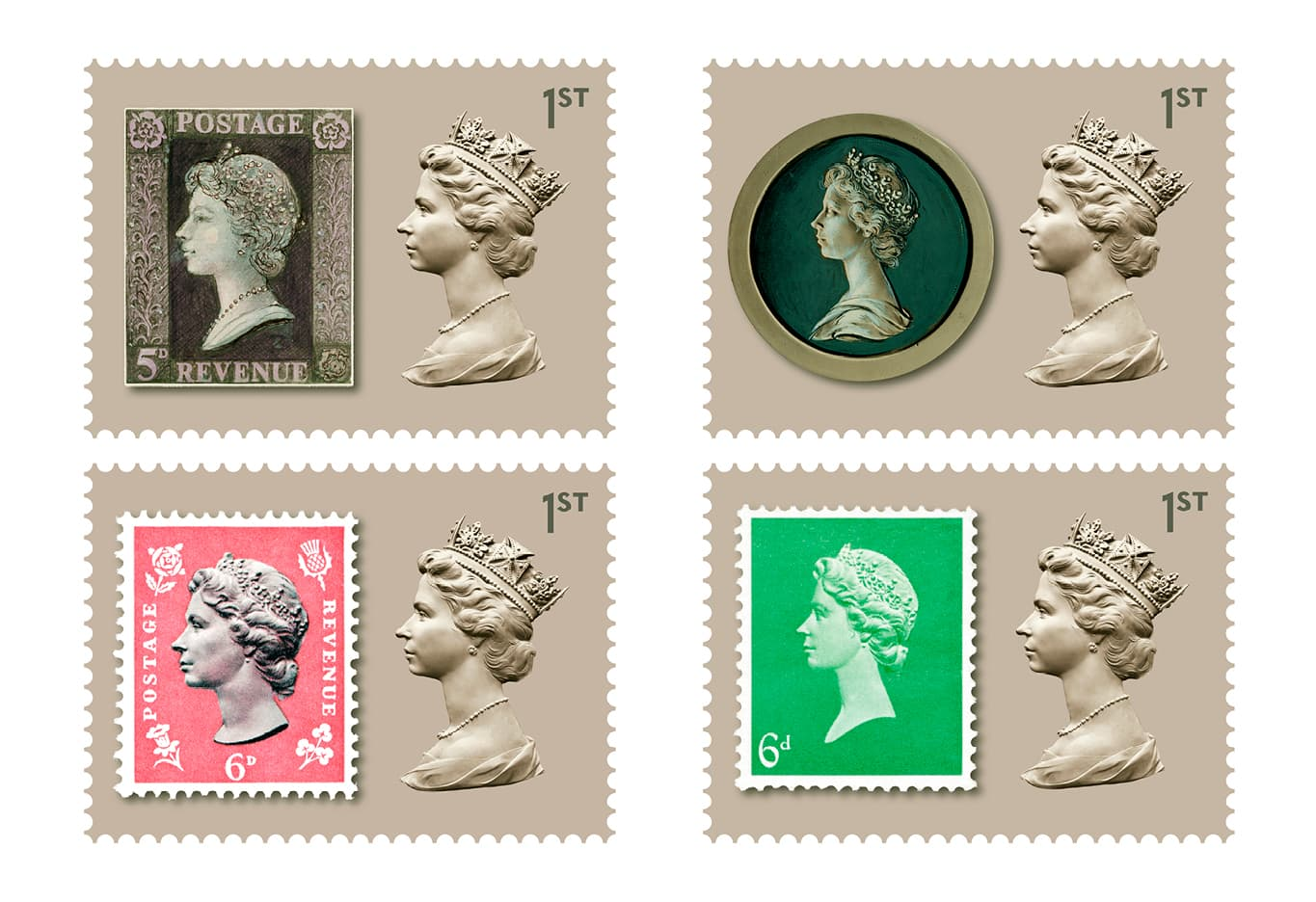 Queen Elizabeth II Machin Definitive Stamp Royal Mail 50th Anniversary stamps