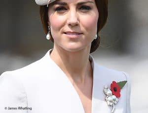 kate Middleton Duchess of Cambridge white Catherine Walker coat dress Passchendaele France pearl and triple leaf royal brooch