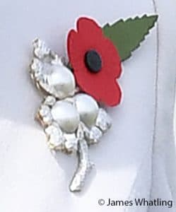 Kate Middleton Duchess of Cambridge passchendaele pearl and triple leaf royal brooch