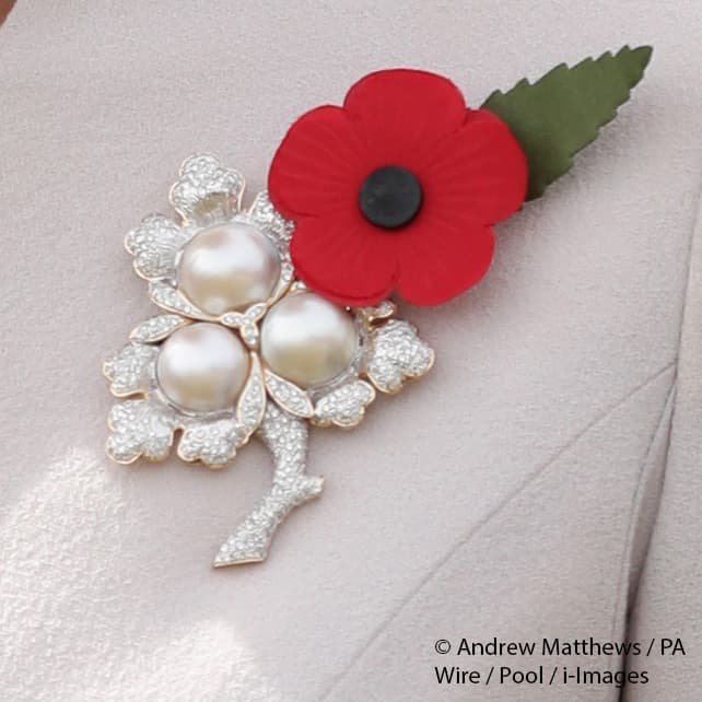 Kate Middleton Duchess of Cambridge Pearl and Triple Leaf royal brooch ypres belgium passchendaele July 2017