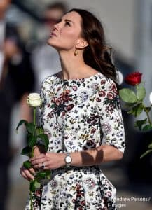 Kate Middleton Duchess of Cambridge patterned Erdem Gdansk Poland July 2017