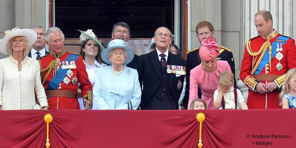 royal family trooping the colour Kate Middleton Queen Elizabeth II Prince William Prince Philip balcony Buckingham Palace 2017