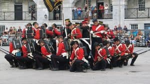 The Fort Henry Guard about to fire muskets and rifles in Kingston, Ontario, 2010