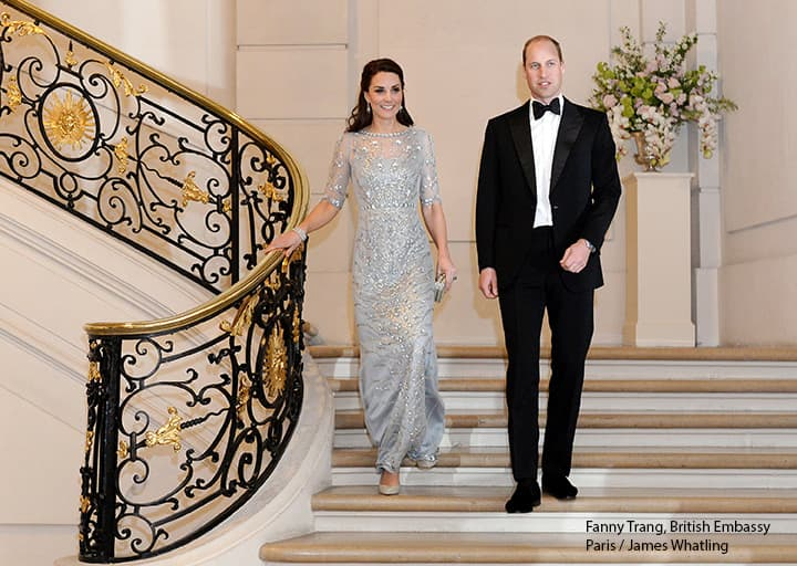 Prince William Kate Middleton, wearing Jenny Packham blue gown, at British Embassy in Paris, 2017