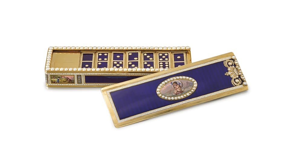Queen Victoria domino box set at Christie's auction, 2017, with gold, enamel and pearls