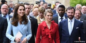 Kate Middleton Duchess of Cambridge wearing blue Emilia Wickstead in Luxembourg with Hereditary Grand Duchess Stephanie and Hereditary Grand Duke Guillaume May 2017