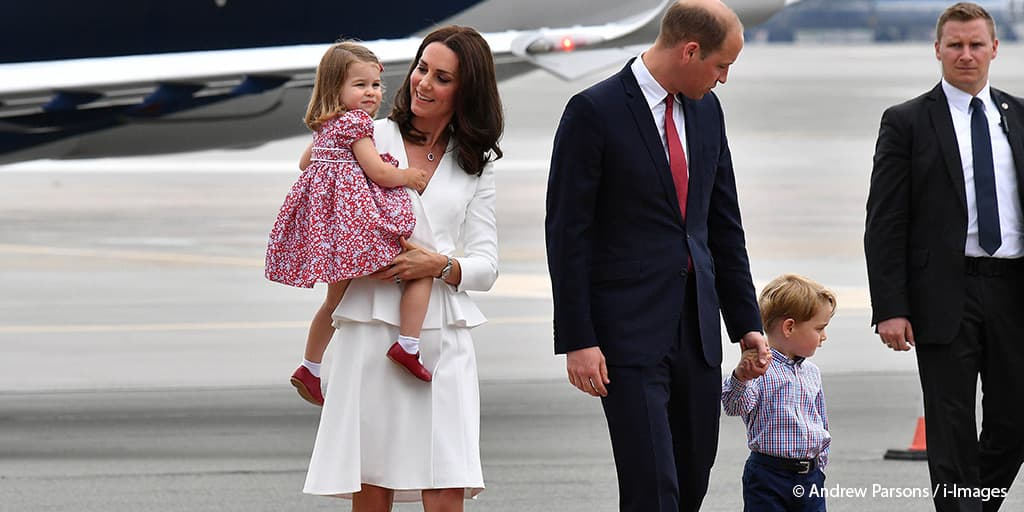 Kate Middleton Duchess of Cambridge white Alexander McQueen Prince William Princess Charlotte Prince George Warsaw Poland July 2017