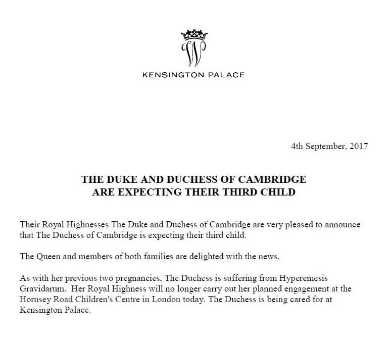 Prince William Kate Middleton third pregnancy announcement Kensington Palace September 2017