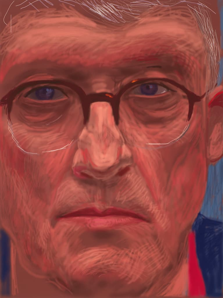 Self-Portrait, by David Hockney, drawn 6 April 2012, drawing. Royal Collection Trust, : Her Majesty Queen Elizabeth II 2017