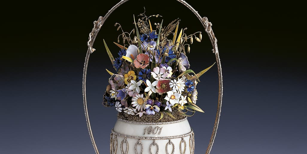 Queen Elizabeth II royal collection Faberge imperial Easter egg flower basket egg 1901 Czar Nicholas II exhibition