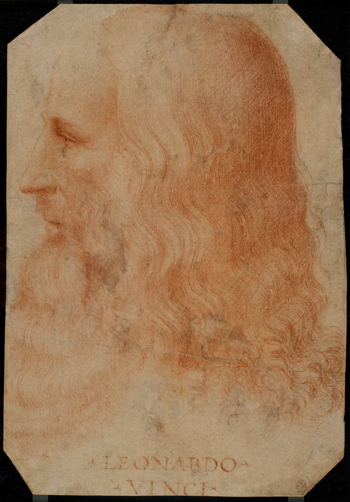 Leonardo da Vinci, c 1515-18 by Francesco Melzi, red chalk. Royal Collection Trust. Copyright: Her Majesty Queen Elizabeth II 2017