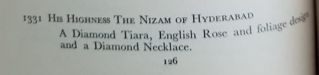 Nizam of Hyderabad royal brooch wedding gift list